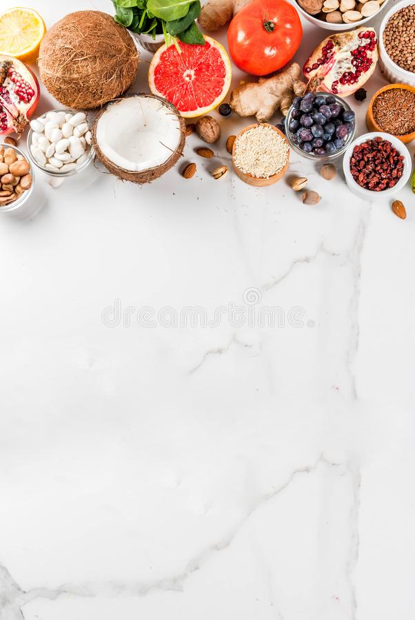Set of organic healthy food royalty free stock photos