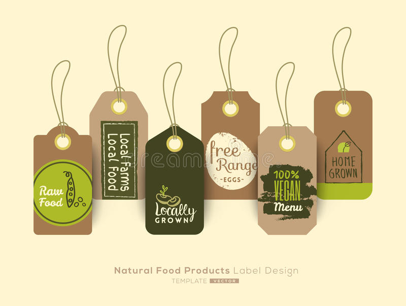 Set of organic healthy food tag and label sticker design vector illustration