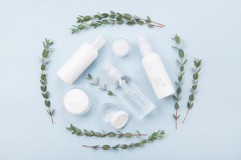 Set of organic natural cosmetic decorated with green eucalyptus leaf top view. Flat lay style. royalty free stock photography