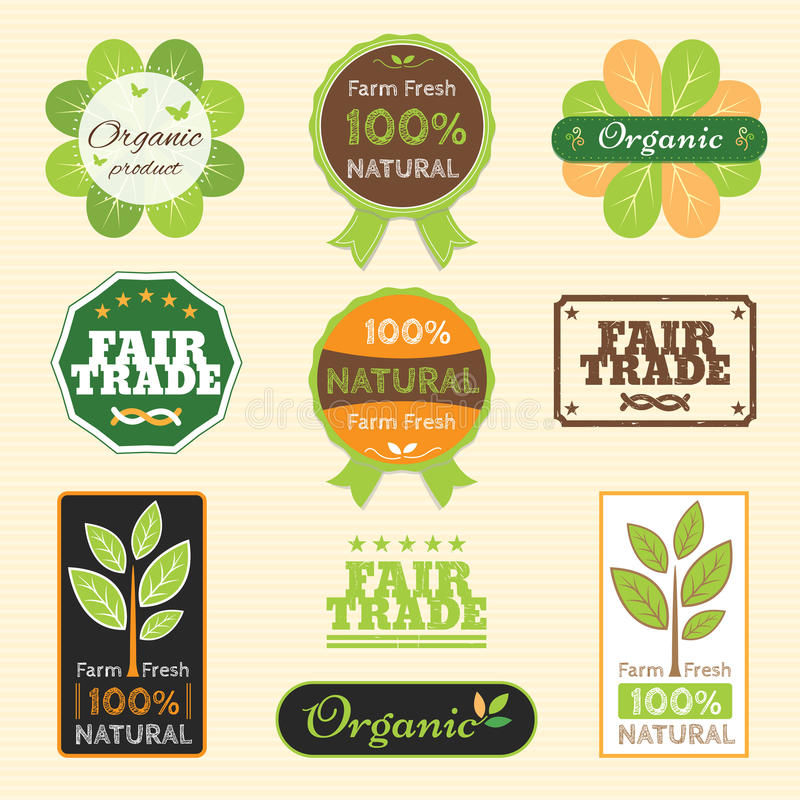 Set of organic non chemical quality and fair trade guarantee tag. Label emblem sticker for plant fruits and vegetable royalty free illustration