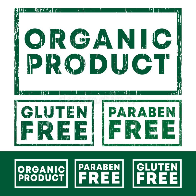 Set of Organic product, Gluten and Paraben free stamp with grunge texture and clear design stock illustration