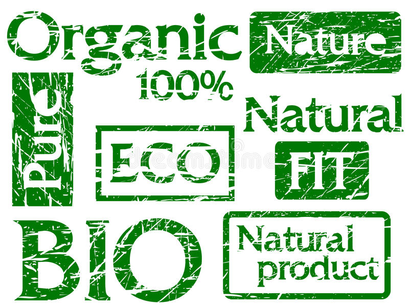 Download Set Of Organic Stamps Or Labels With Words: Bio, F Stock Illustration - Illustration of environment, leaf: 15868709