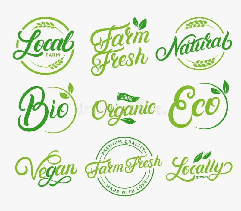 Set organicznie, miejscowego gospodarstwo rolne, rolny świeży, naturalny produkt, życiorys, weganin ręka pisać piszący list loga, ilustracja wektor