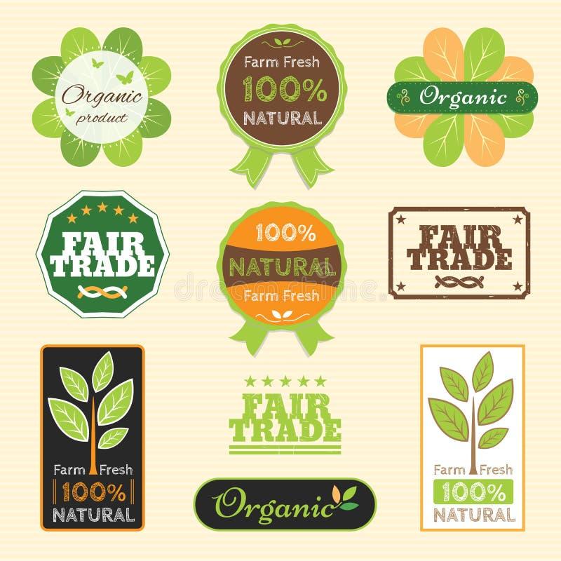 Set organicznie non chemiczna ilości i uczciwego handlu gwaranci etykietka royalty ilustracja