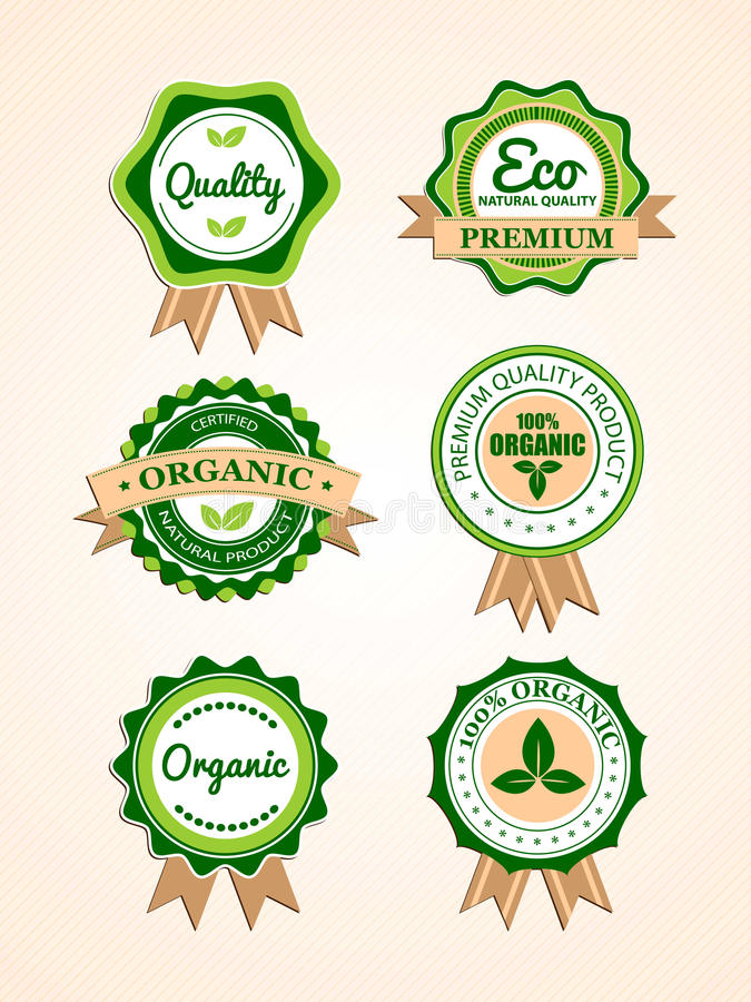 Set organische Abzeichen und Kennsätze lizenzfreie abbildung