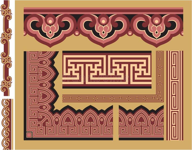 Set of Oriental Borders and Frames stock illustration