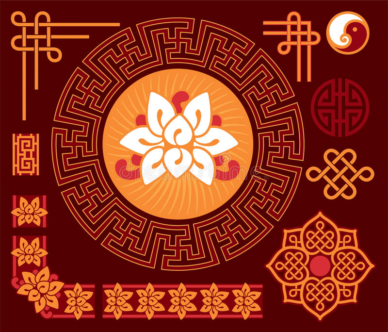Set of Oriental - Chinese - Design Elements vector illustration