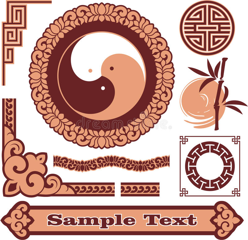 Set of Oriental Design Elements stock illustration