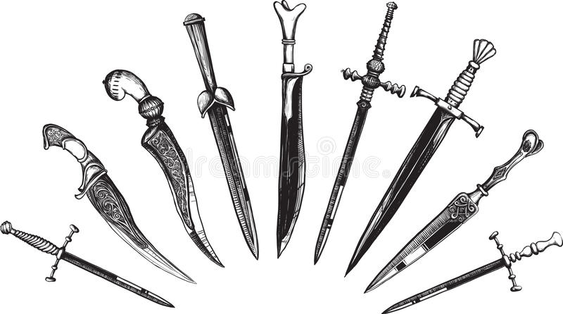 Set of Oriental and European Daggers royalty free stock photo