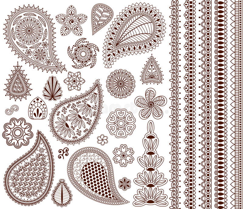 Set of oriental ornaments for henna tattoo and for your design. stock illustration