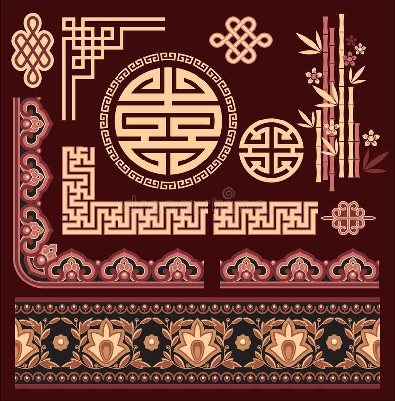 Set of Oriental Pattern Elements royalty free illustration