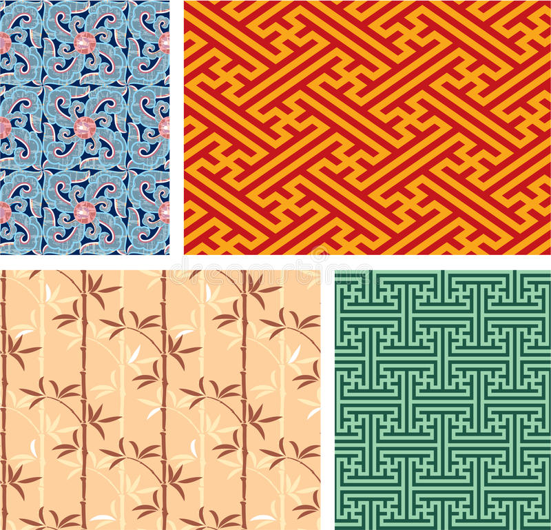 Set of Oriental Seamless Tiles stock illustration