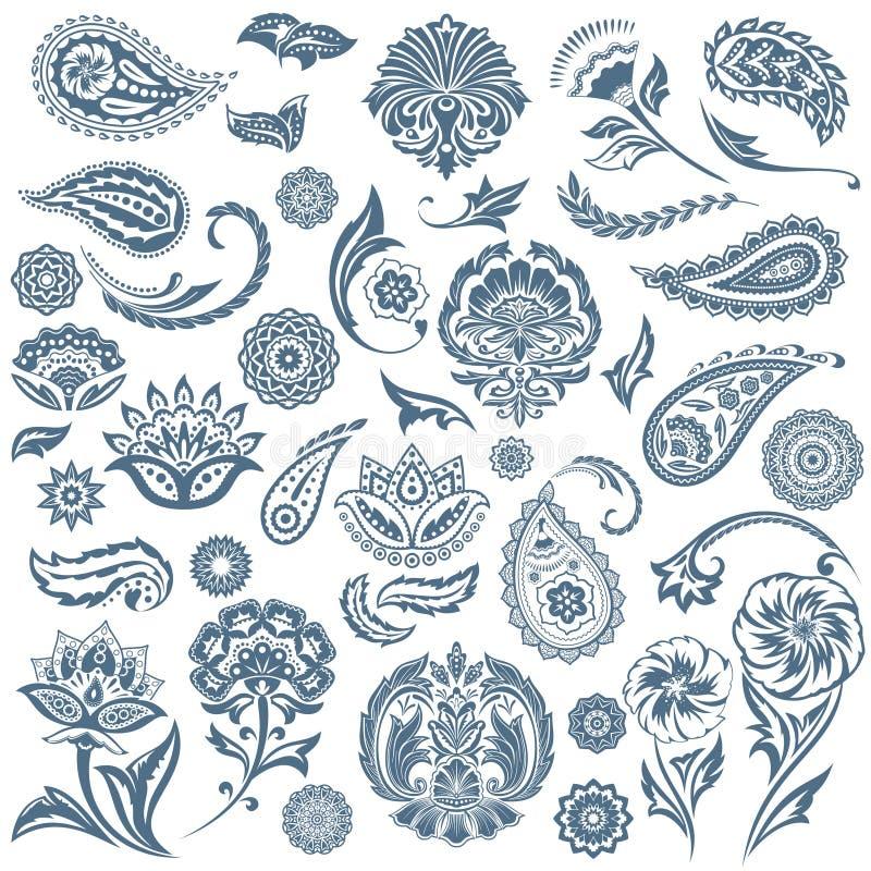 Set Orientalny elementu czerń ilustracja wektor