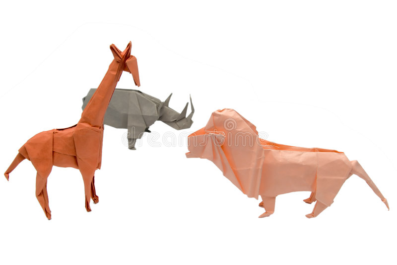 A set of origami animals royalty free stock photo