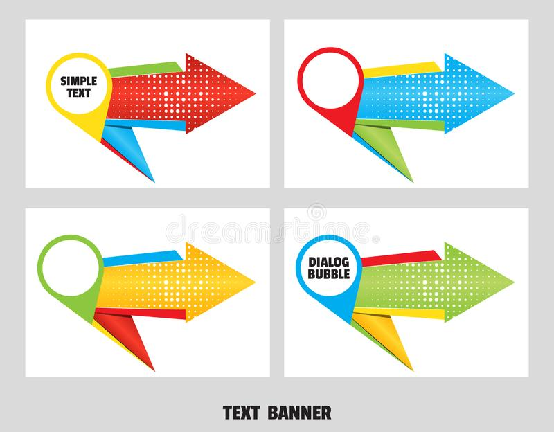 Set of origami arrow speech bubble. Map marker dialogue banner for message from paper origami arrow vector illustration