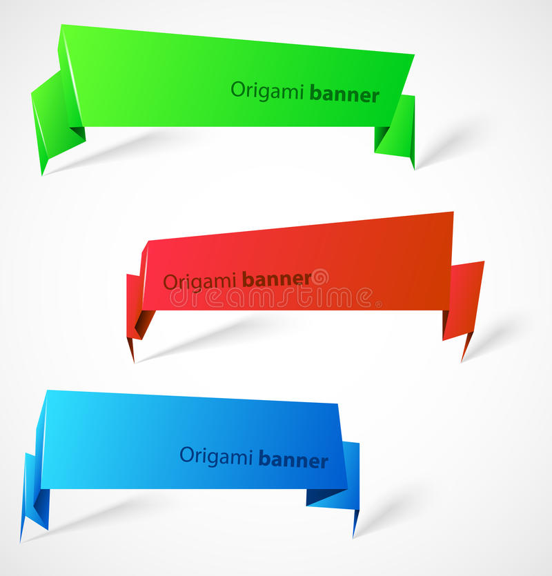 Download Set of origami banners stock vector. Image of abstract - 24124839