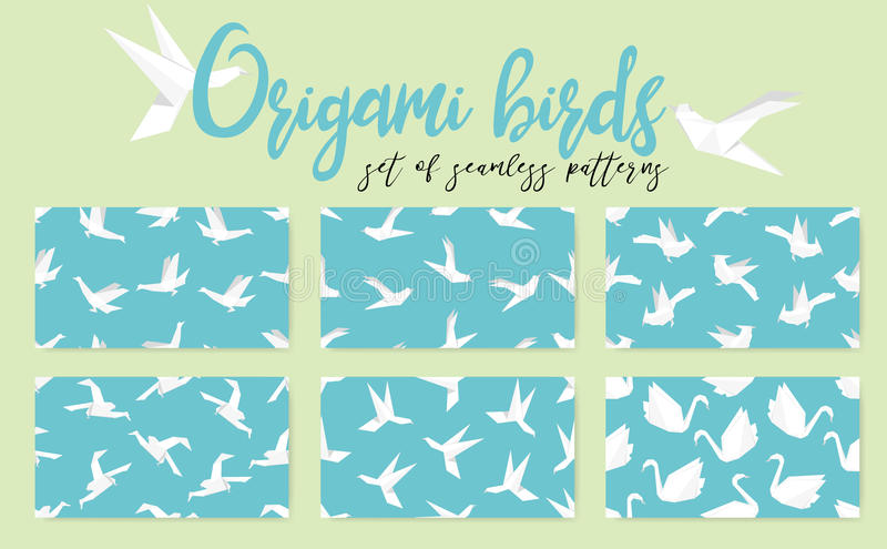 Set of origami bird seamless pattern. Collection of japanese vector ornament. royalty free illustration