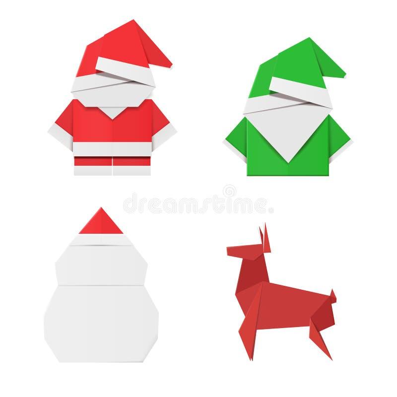 Set origami Bożenarodzeniowi charaktery: Święty Mikołaj, elf, bałwan i rogacz, Papier zabawki dla dekoracj ilustracja wektor