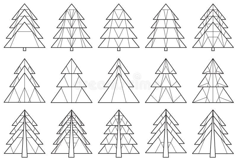 Set of origami Christmas tree silhouettes royalty free illustration