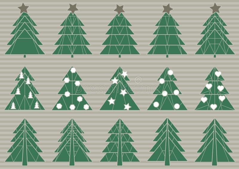Set of origami Christmas trees royalty free illustration
