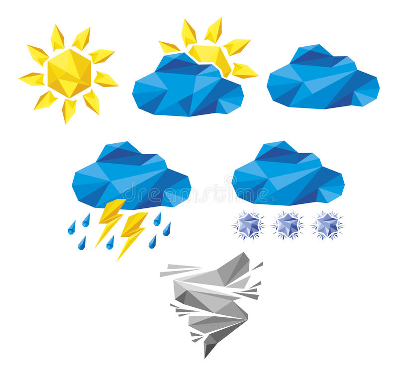 Set Of Origami Weather Icons Stock Vector Illustration Of Poly