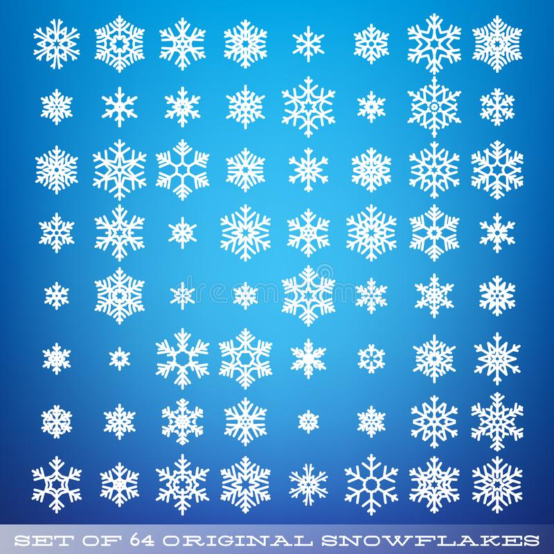 Set of 64 original beautiful snowflakes. Graphic winter object. Christmas snow icon. Snow flake crystal element. EPS 10 vector illustration