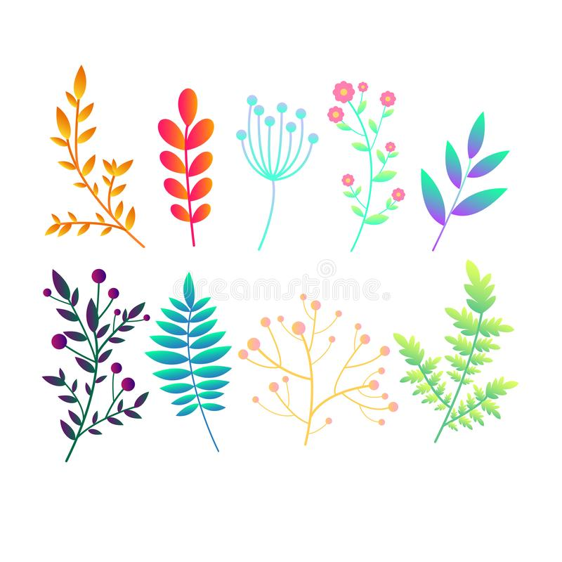Set with original bright gradient  abstract plants, branches and leaves.Vintage colorful botanical pattern collection icons for royalty free illustration