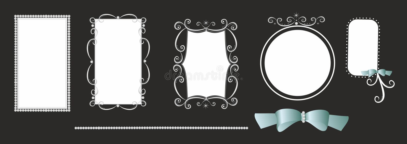 Original Picture Frames A Set Of Original Frames.white On Black.cdr Royalty Free Stock