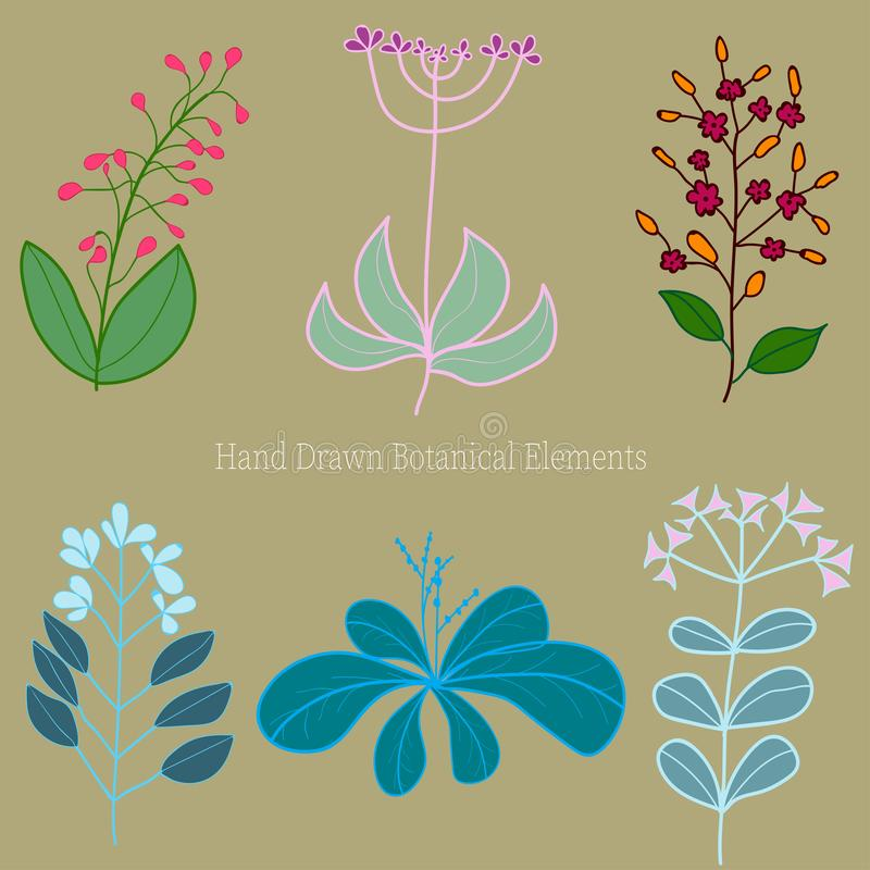 Set of original hand-drawn flowers on a light brown background royalty free illustration