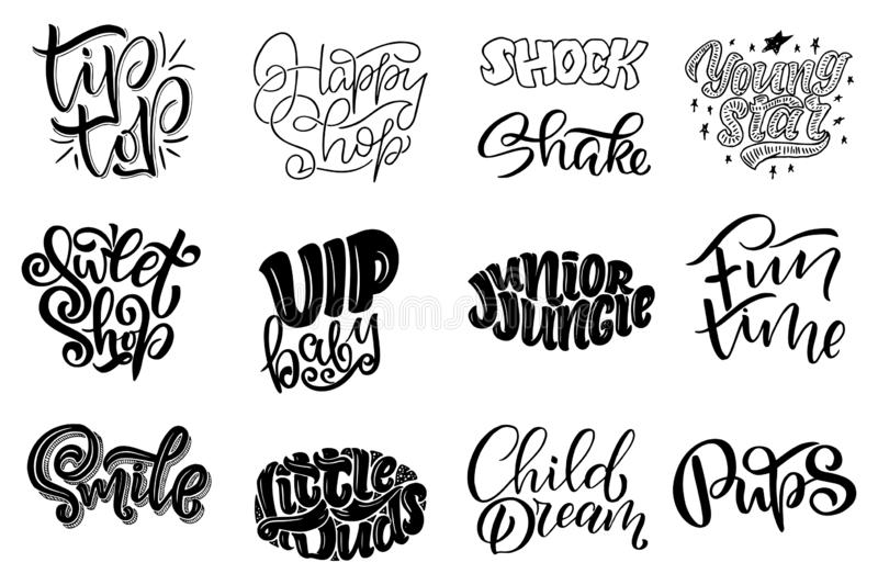 Set with Original hand drawn illustrations. Lettering for kids shop logo design and prints. Hand drawn illustration. Set with Original hand drawn illustrations royalty free illustration