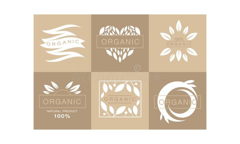 Set of 6 original monochrome emblems with leaves and text. 100 organic product. Healthy lifestyle. Creative logo stock illustration