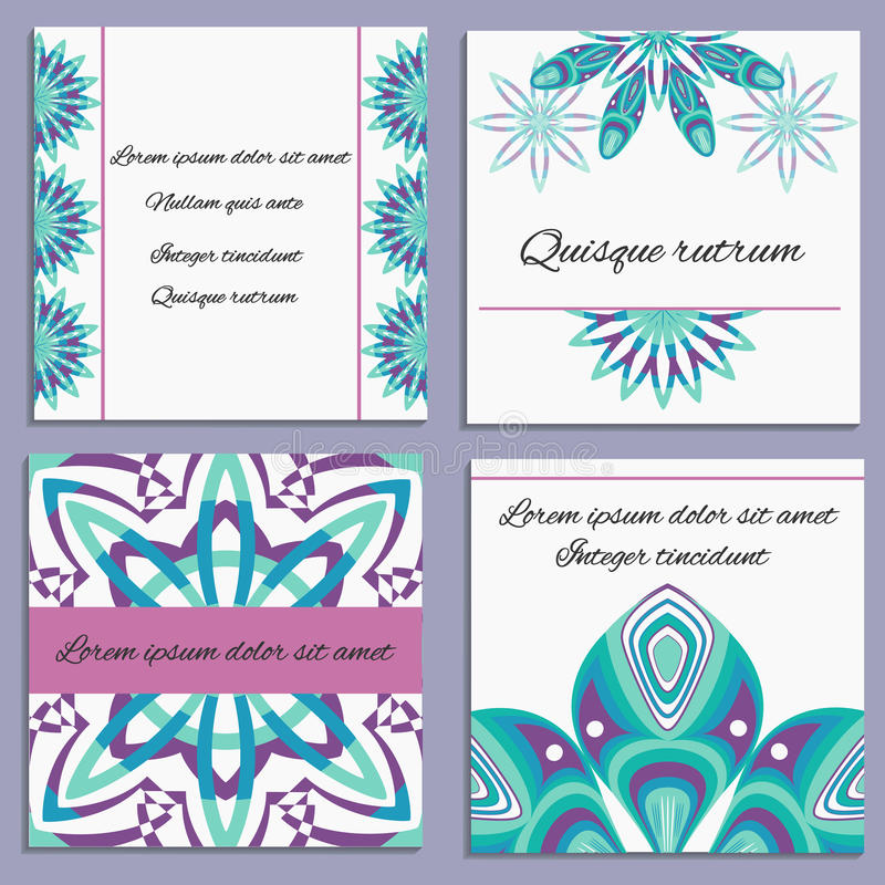 Set ornament invitation with isolated decorative. A set of cards style floral pattern. Design greeting card or invitation for birthday. Isolated decorative stock illustration