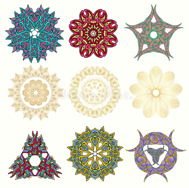 Set of ornament multicolor doodle mandalas. Vintage decorative element vector illustration