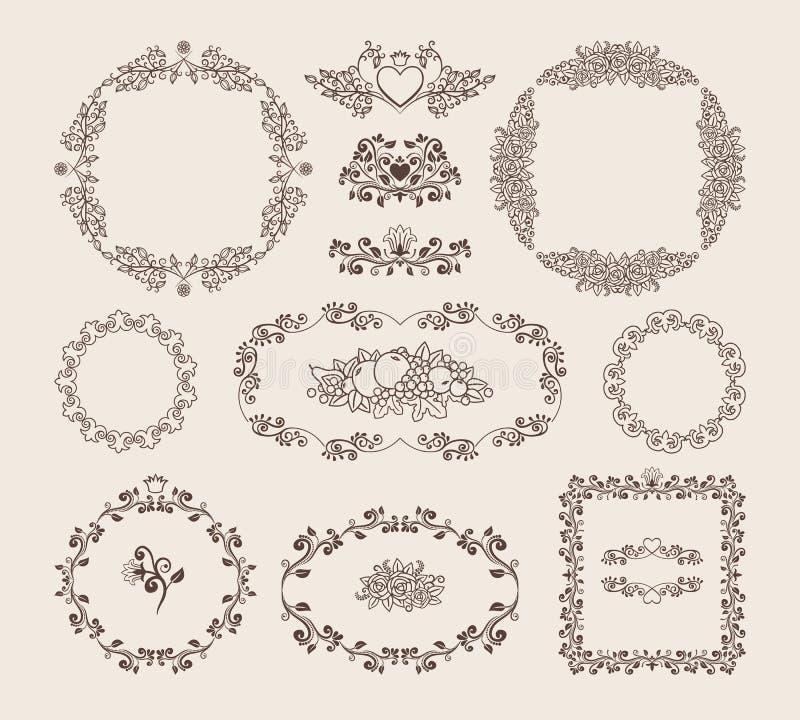 Set ornamentacyjne wektor ramy, odznaki i royalty ilustracja