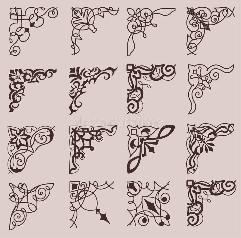 Set ornamentacyjni kąty w retro stylu Rocznik ilustracja wektor