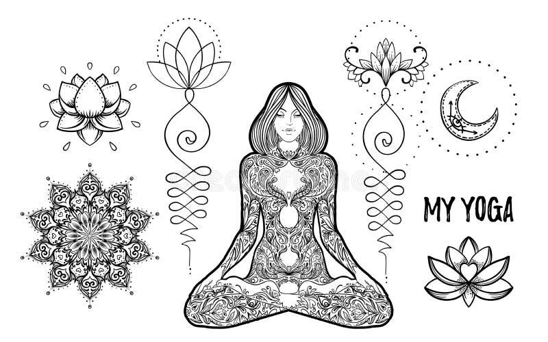 Set of Ornamental Boho Chic Style Elements. Vector Budda illustration. Tattoo template. Hand drawn tribal esoteric symbol collect stock illustration