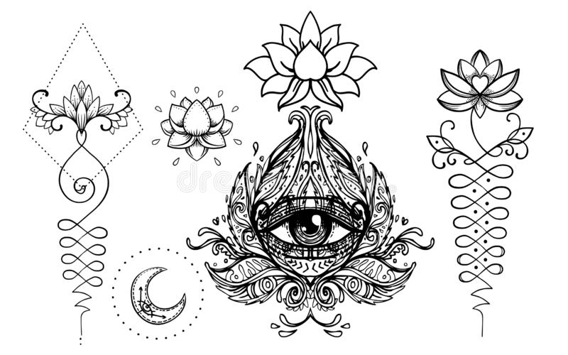 Set of Ornamental Boho Chic Style Elements. Vector Budda illustration. Tattoo template. Hand drawn tribal esoteric symbol collect. Ion. Hippie design elements stock illustration