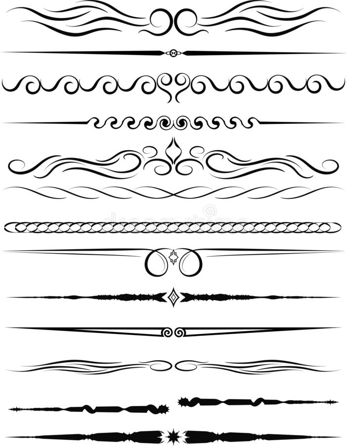 Set of ornamental borders and vintage page dividers. Vector illustration vector illustration
