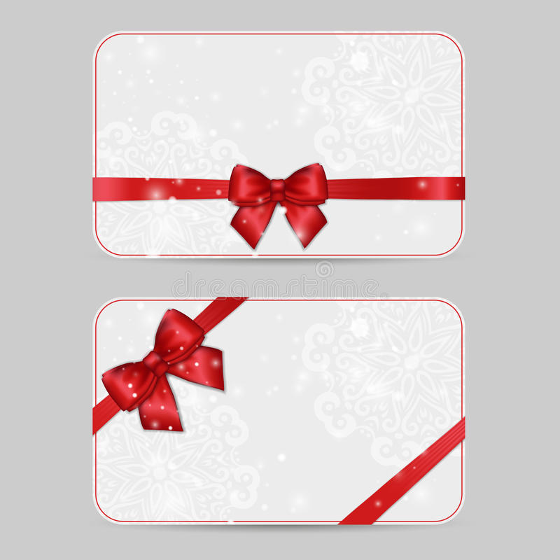 Set of ornamental Card Templates with Shiny holiday red satin ri. Bbon bow on white lacy background. Vector template for greetings, invitations, cards, vouchers vector illustration