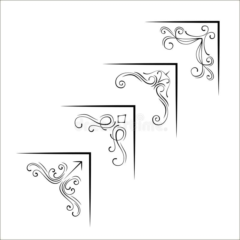 Set of ornamental corners in vintage style. Vector illustration. stock illustration