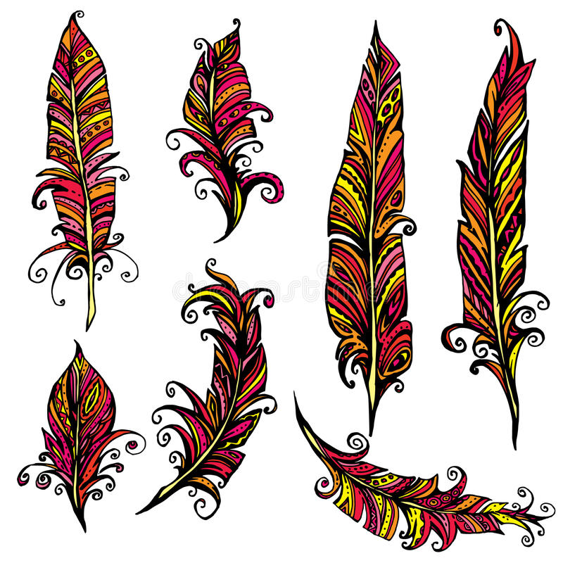 set of ornamental feather tribal design ink hand drawn illustr rh dreamstime com