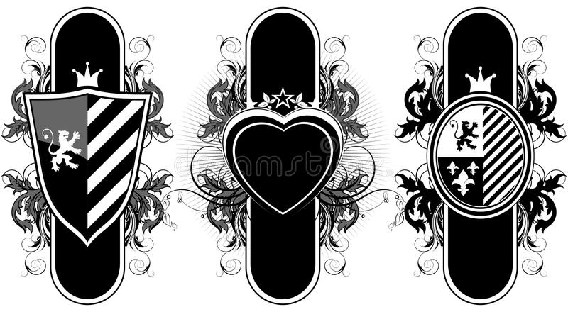 Set of ornamental heraldic elements stock illustration
