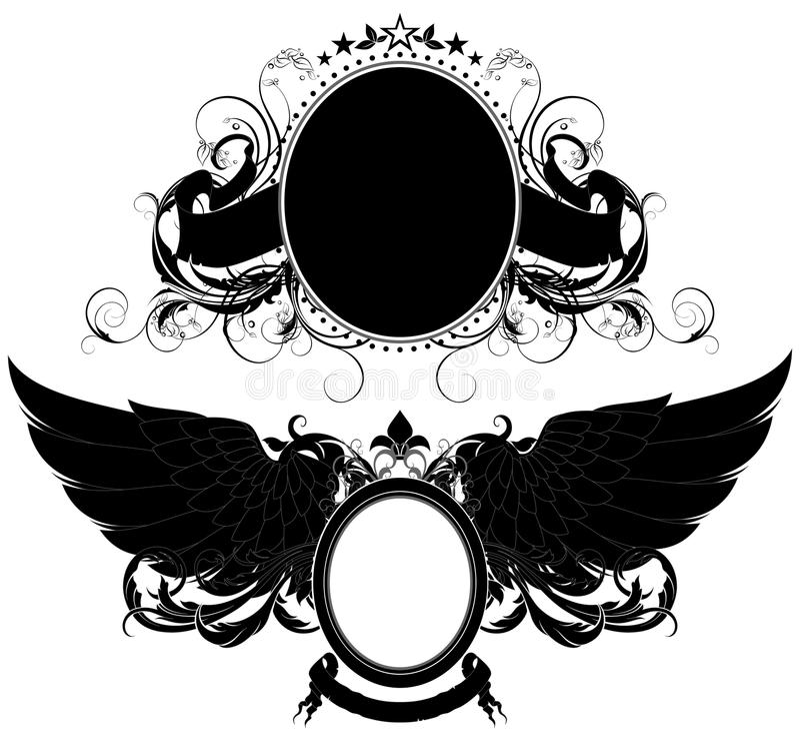 Set of ornamental heraldic elements vector illustration