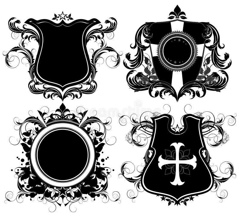 Set of ornamental heraldic shields royalty free illustration