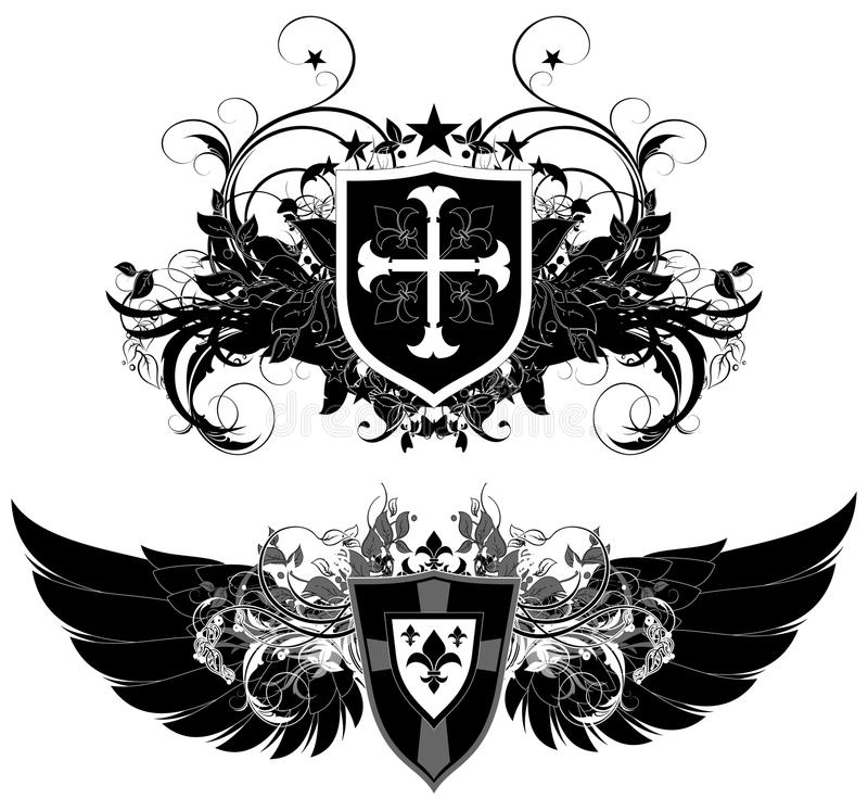 Set of ornamental heraldic shields vector illustration