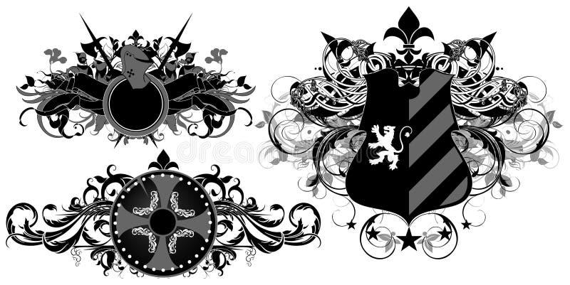 Set of ornamental heraldic shields stock illustration