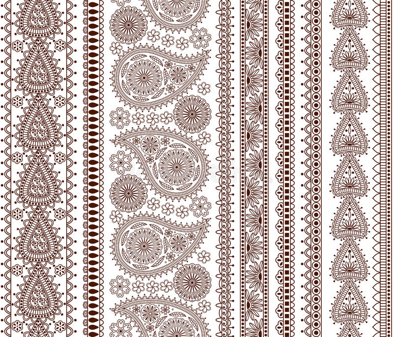 Set of Ornamental Seamless Borders in indian style vector illustration