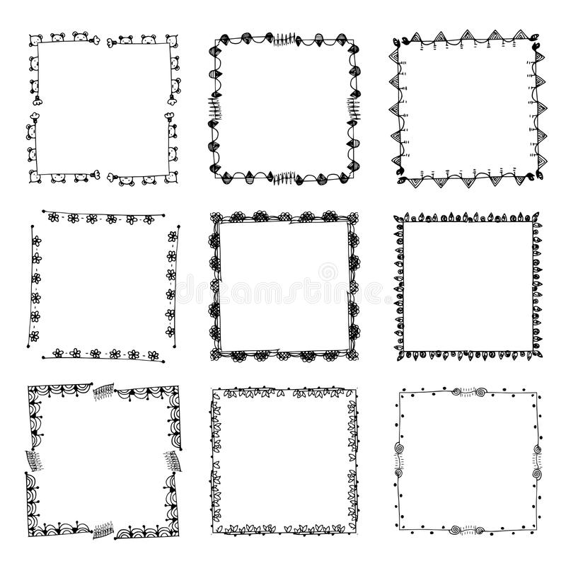 Set Of Ornate Black Picture Frames Isolated On White Stock Vector ...