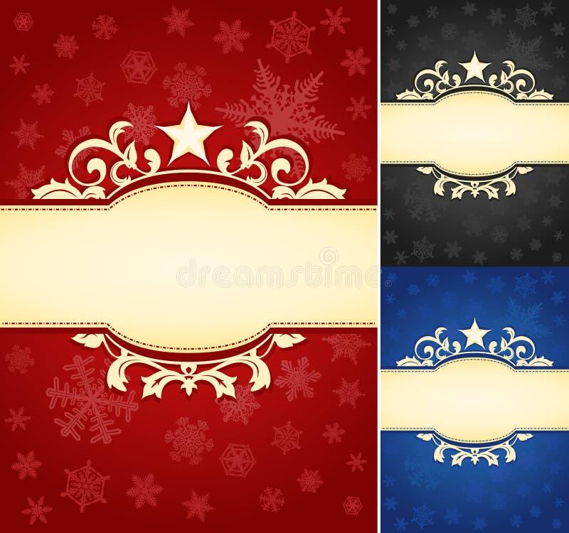 Set of Ornate Christmas Banner Background stock illustration