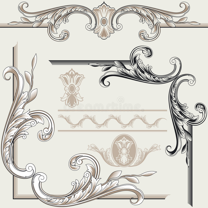 Set of Ornate Flourishes royalty free illustration